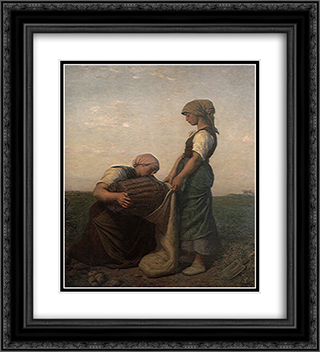 The Potato Harvest 20x22 Black or Gold Ornate Framed and Double Matted Art Print by Jules Breton
