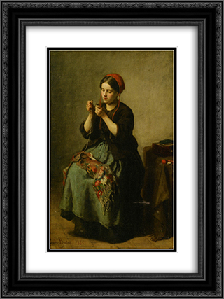 Peasant Woman Threading a Needle 18x24 Black or Gold Ornate Framed and Double Matted Art Print by Jules Breton