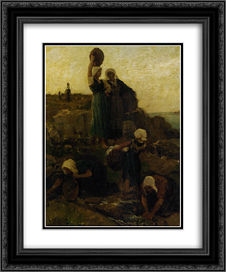 A La Fontaine Douarnenez 20x24 Black or Gold Ornate Framed and Double Matted Art Print by Jules Breton
