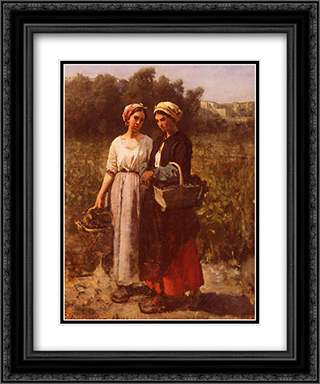 Les Vendanges A Chateau'Lagrange 20x24 Black or Gold Ornate Framed and Double Matted Art Print by Jules Breton
