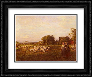 La Bergere 24x20 Black or Gold Ornate Framed and Double Matted Art Print by Jules Breton