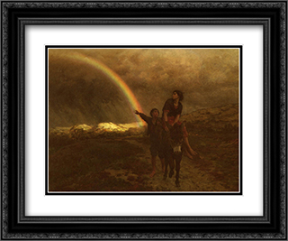 The Rainbow 24x20 Black or Gold Ornate Framed and Double Matted Art Print by Jules Breton