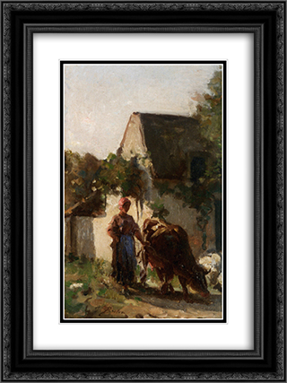 Gardeuse de Vache 18x24 Black or Gold Ornate Framed and Double Matted Art Print by Jules Breton