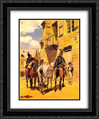 The Halt 20x24 Black or Gold Ornate Framed and Double Matted Art Print by Ernest Meissonier