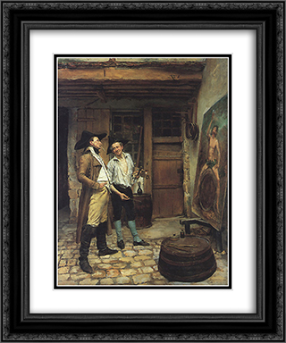 The Sign Painter 20x24 Black or Gold Ornate Framed and Double Matted Art Print by Ernest Meissonier