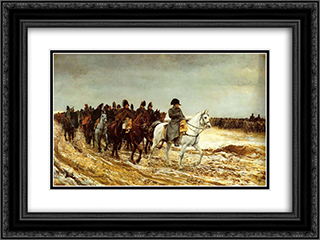 The French Campaign 24x18 Black or Gold Ornate Framed and Double Matted Art Print by Ernest Meissonier