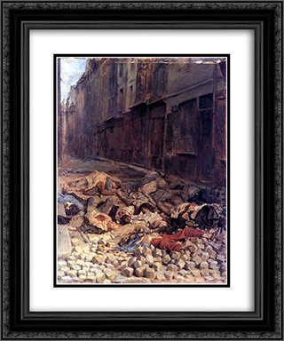 The Barricade 20x24 Black or Gold Ornate Framed and Double Matted Art Print by Ernest Meissonier