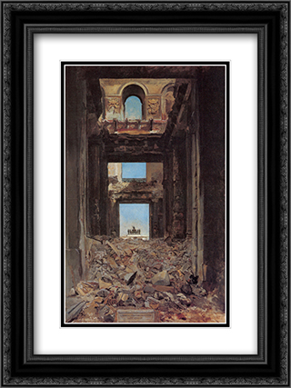 The Ruins of the Tuileries Palace after the Commune of 1871 18x24 Black or Gold Ornate Framed and Double Matted Art Print by Ernest Meissonier