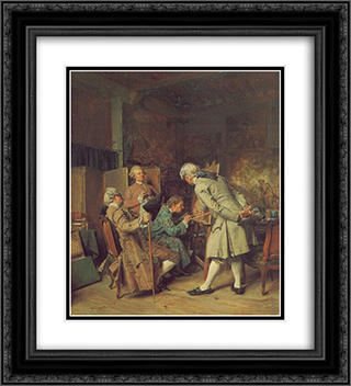 The Lovers of Painting 20x22 Black or Gold Ornate Framed and Double Matted Art Print by Ernest Meissonier