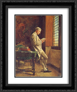 The Reader in White 20x24 Black or Gold Ornate Framed and Double Matted Art Print by Ernest Meissonier