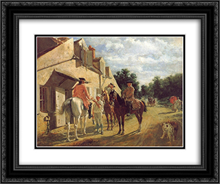 At the Relay Station 24x20 Black or Gold Ornate Framed and Double Matted Art Print by Ernest Meissonier