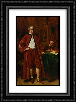 Diderot and his Scribe 18x24 Black or Gold Ornate Framed and Double Matted Art Print by Ernest Meissonier