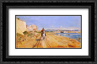 Self'Portrait Along The Route De La Salice, Antibes 24x16 Black or Gold Ornate Framed and Double Matted Art Print by Ernest Meissonier