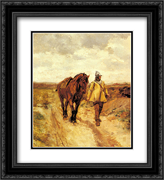 Un Homme d'armes et son cheval 20x22 Black or Gold Ornate Framed and Double Matted Art Print by Ernest Meissonier