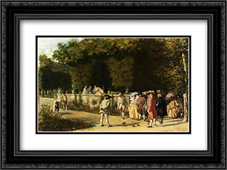 Playing Jeu De Boules 24x18 Black or Gold Ornate Framed and Double Matted Art Print by Ernest Meissonier