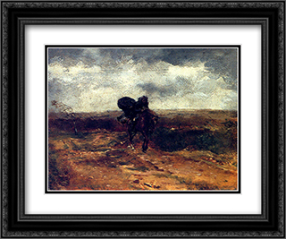 Coup De Vent 24x20 Black or Gold Ornate Framed and Double Matted Art Print by Ernest Meissonier