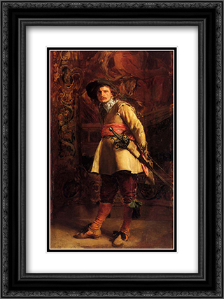 Musketeer 18x24 Black or Gold Ornate Framed and Double Matted Art Print by Ernest Meissonier