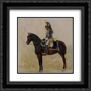 Un Cuirassier 20x20 Black or Gold Ornate Framed and Double Matted Art Print by Ernest Meissonier