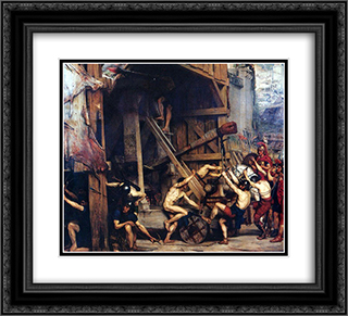 The Catapault 22x20 Black or Gold Ornate Framed and Double Matted Art Print by Edward John Poynter