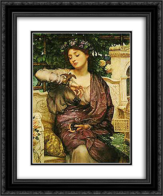 Lesbia and her Sparrow 20x24 Black or Gold Ornate Framed and Double Matted Art Print by Edward John Poynter