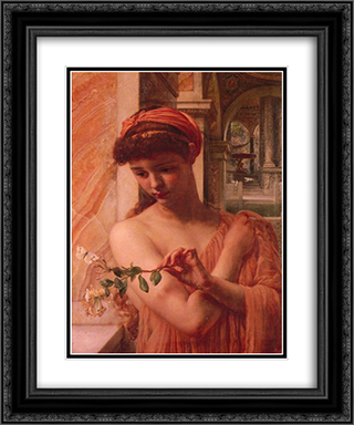 Psyche in the temple of love 20x24 Black or Gold Ornate Framed and Double Matted Art Print by Edward John Poynter