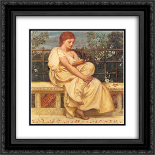 Reading 20x20 Black or Gold Ornate Framed and Double Matted Art Print by Edward John Poynter