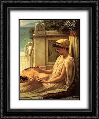 On the Terrace 20x24 Black or Gold Ornate Framed and Double Matted Art Print by Edward John Poynter