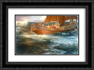 Wrath of the Sea God 24x18 Black or Gold Ornate Framed and Double Matted Art Print by Herbert James Draper