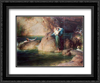 Halcyone 24x20 Black or Gold Ornate Framed and Double Matted Art Print by Herbert James Draper