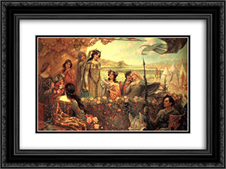 Lancelot and Guinevere 24x18 Black or Gold Ornate Framed and Double Matted Art Print by Herbert James Draper