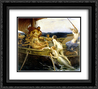 Ulysses and the Sirens 22x20 Black or Gold Ornate Framed and Double Matted Art Print by Herbert James Draper