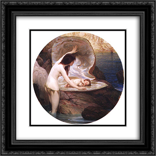 Waterbaby 20x20 Black or Gold Ornate Framed and Double Matted Art Print by Herbert James Draper