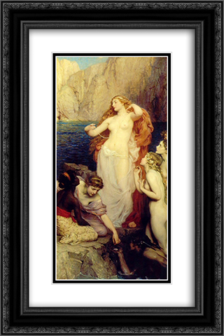 The Pearls of Aphrodite 16x24 Black or Gold Ornate Framed and Double Matted Art Print by Herbert James Draper