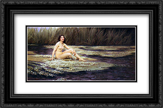 The Water Nymph 24x16 Black or Gold Ornate Framed and Double Matted Art Print by Herbert James Draper