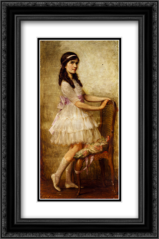 Portrait Of Miss Barbara De Selincourt 16x24 Black or Gold Ornate Framed and Double Matted Art Print by Herbert James Draper