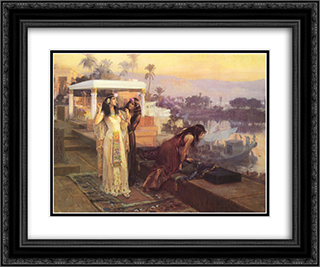 Cleopatra on the Terraces of Philae 24x20 Black or Gold Ornate Framed and Double Matted Art Print by Frederick Arthur Bridgman