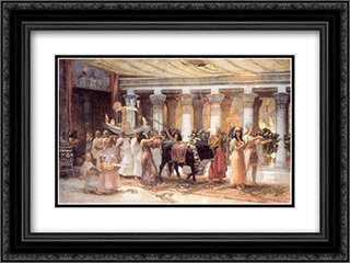 The Procession of the Sacred Bull Anubis 24x18 Black or Gold Ornate Framed and Double Matted Art Print by Frederick Arthur Bridgman