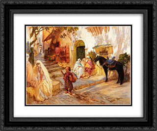 A Street in Algeria 24x20 Black or Gold Ornate Framed and Double Matted Art Print by Frederick Arthur Bridgman