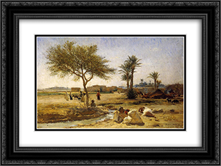An Arab Village 24x18 Black or Gold Ornate Framed and Double Matted Art Print by Frederick Arthur Bridgman