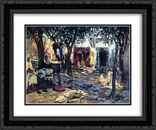 Idle Moments: An Arab Courtyard 24x20 Black or Gold Ornate Framed and Double Matted Art Print by Frederick Arthur Bridgman