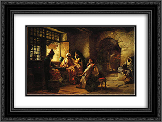 An Interesting Game 24x18 Black or Gold Ornate Framed and Double Matted Art Print by Frederick Arthur Bridgman
