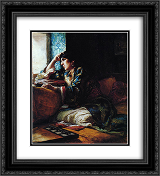 Aicha, a Woman of Morocco 20x22 Black or Gold Ornate Framed and Double Matted Art Print by Frederick Arthur Bridgman