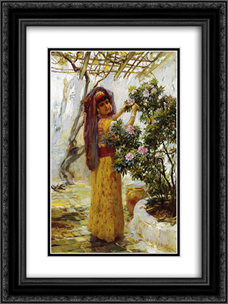 In the Courtyard 18x24 Black or Gold Ornate Framed and Double Matted Art Print by Frederick Arthur Bridgman