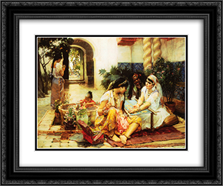 In a Village, El Biar, Algeria 24x20 Black or Gold Ornate Framed and Double Matted Art Print by Frederick Arthur Bridgman