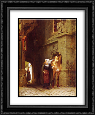 Leading the Horse from Stable 20x24 Black or Gold Ornate Framed and Double Matted Art Print by Frederick Arthur Bridgman