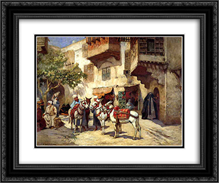 Marketplace in North Africa 24x20 Black or Gold Ornate Framed and Double Matted Art Print by Frederick Arthur Bridgman