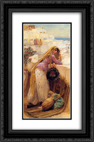 On the Terrace 16x24 Black or Gold Ornate Framed and Double Matted Art Print by Frederick Arthur Bridgman