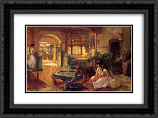Orientalist Interior 24x18 Black or Gold Ornate Framed and Double Matted Art Print by Frederick Arthur Bridgman
