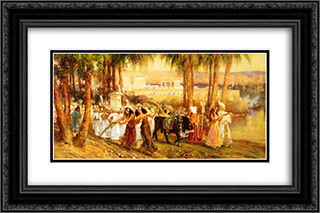 Procession in Honor of Isis 24x16 Black or Gold Ornate Framed and Double Matted Art Print by Frederick Arthur Bridgman