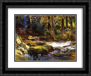 River Landscape with Deer 24x20 Black or Gold Ornate Framed and Double Matted Art Print by Frederick Arthur Bridgman